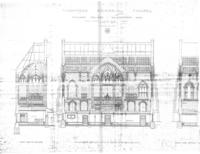 Architect's drawing of Thompson Memorial Chapel front, north and west sides, 1904