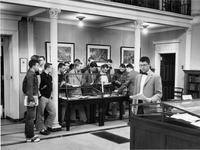 A class of students visit Chapin Library