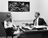 A female student meets with a professor or administrator, 1969