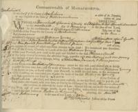 Number 66: Legal Document to the Sheriff of Berkshire County from February 9, 1791