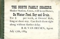 """""""The North Family Shakers will keep horses"""" flier"""