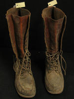 Charles White Whittlesey: Brown high leather boots with laces at top and bottom - Front