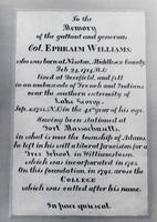 Ephraim Williams: Plaque in Griffin Hall, 2000