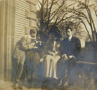 Two couples outside of Sigma Phi fraternity house, 1908