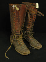 Charles White Whittlesey: Brown high leather boots with laces and buckles at top - 3/4