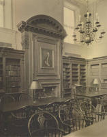 The east fireplace in the Stetson Library reading room, 1922