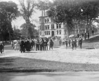 Graduation festivites in front of Hopkins Hall, 1897
